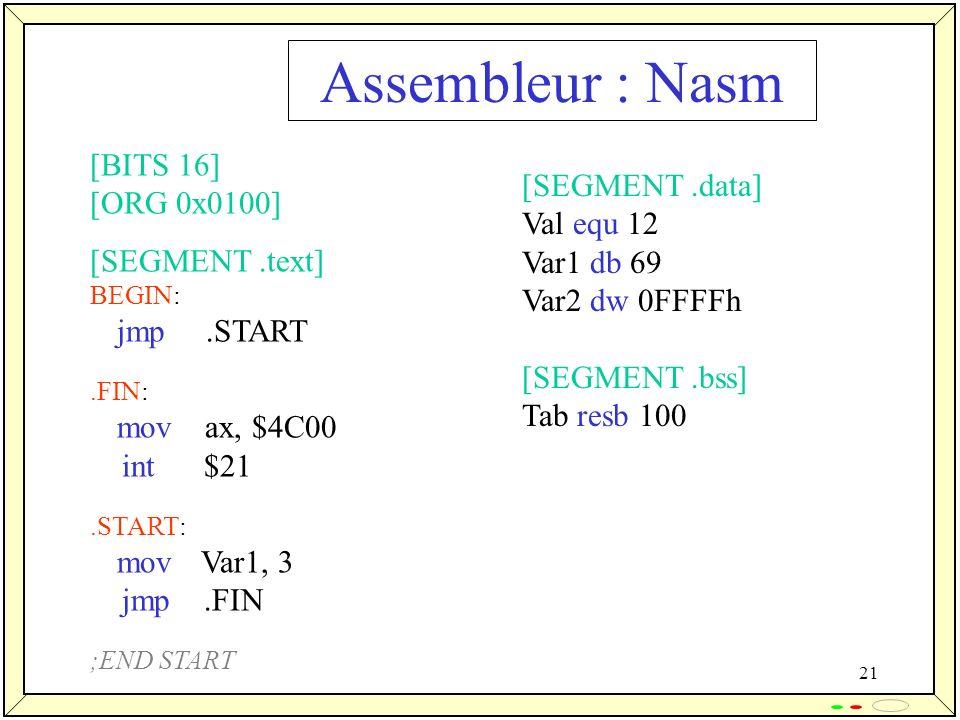 Assembleur : Nasm [BITS 16] [ORG 0x0100] [SEGMENT .data] Val equ 12
